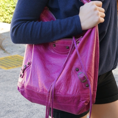 Balenciaga Day bag in 2005 magenta, navy knit | away from the blue blog