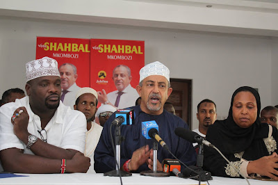 Suleiman Shahbaal in a press briefing in Mombasa. PHOTO | Courtesy