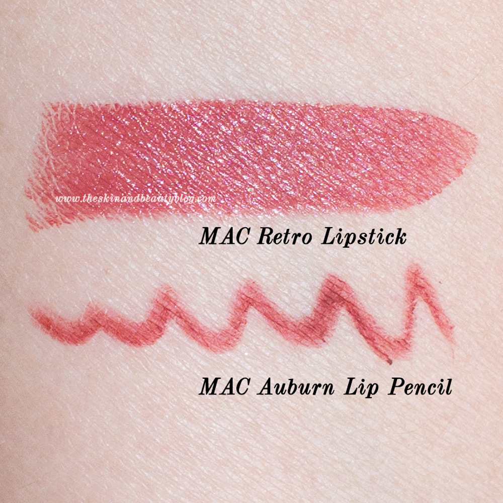 MAC Retro Lipstick and MAC Auburn Lip Pencil swatches nc30 skin