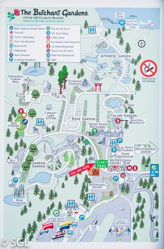 Mapa de los jardines Butchart . Canada