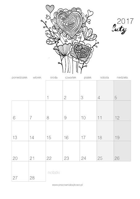 *kalendarz do druku* miesiąc LUTY 2017