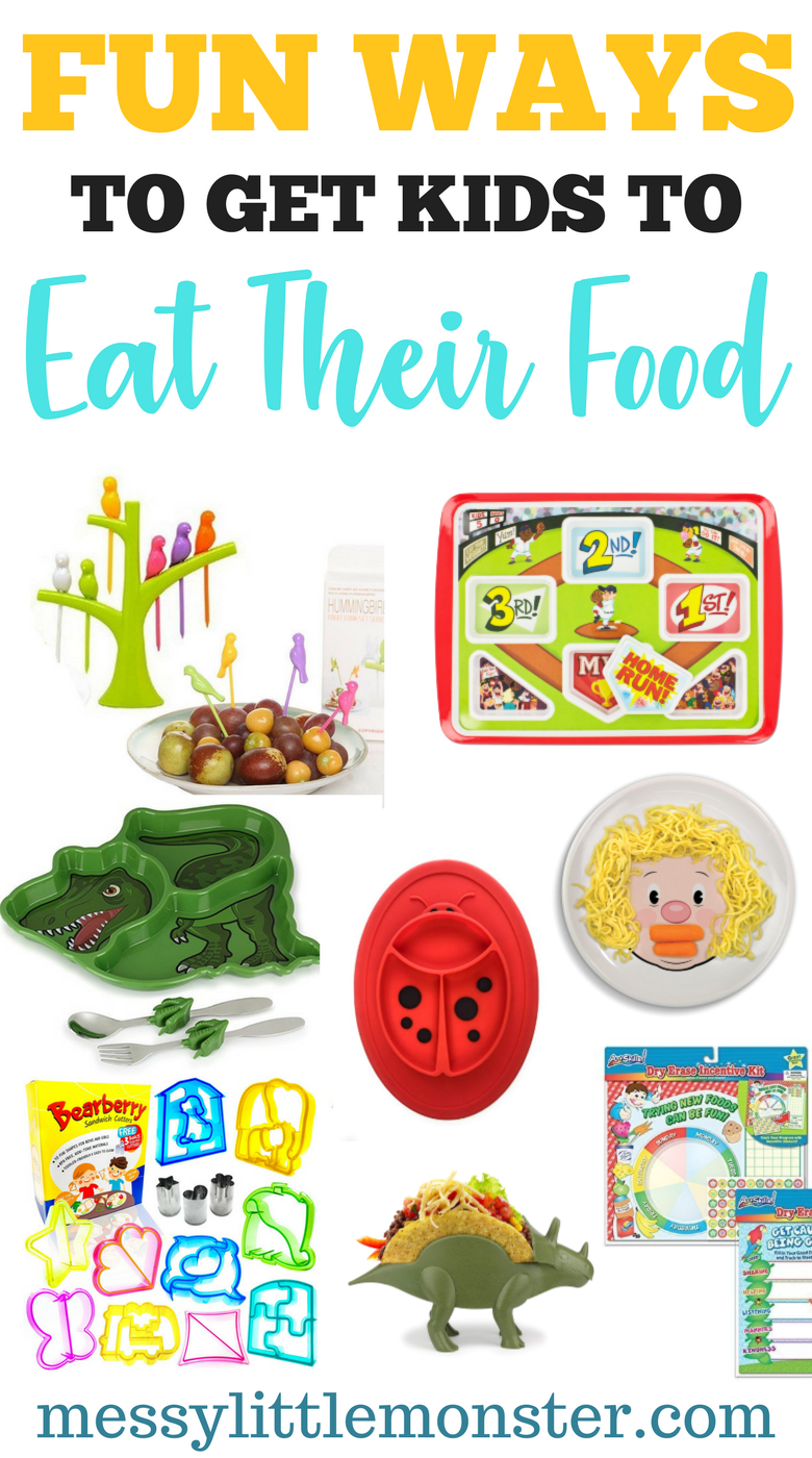 Fun ways to get fussy eaters to eat their food. Lots of fun products to get kids to eat dinner.