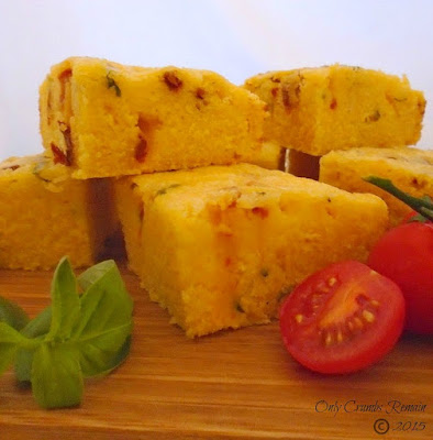 Cornbread with sundried tomatoes, mature cheddar and basil, a delicious variation to classic bread