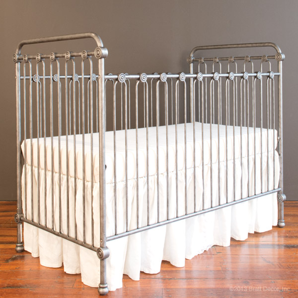 Brushed pewter crib from Bratt Decor