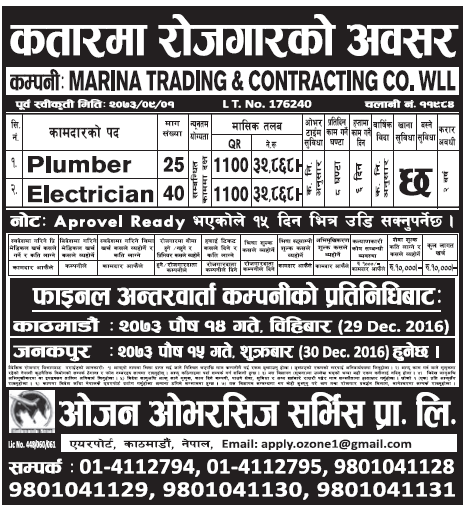 Jobs in Qatar for Nepali, Salary Rs 32,868