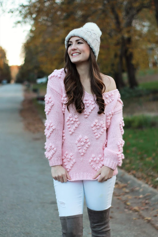 Heart Pom-Pom Detail Sweater