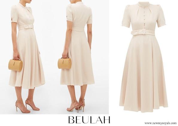 Crown Princess Mary wore Beulah London Ahana Puff-sleeve Belted Wool Dress
