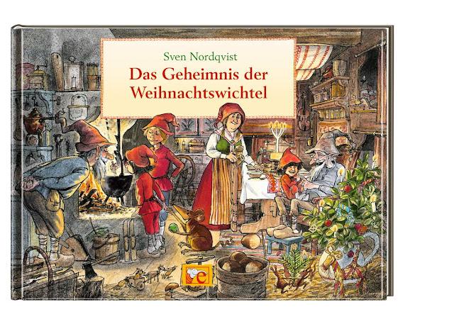"""Das Bücherboot: Weihnachtswichtel in Kinder- und Jugendbüchern (+ Verlosung). Eine ganze Wichtelfamilie spielt die Hauptrolle in dem schönen Bilderbuch """"Das Geheimnis der Weihnachtswichtel"""" von Sven Nordqvist."""