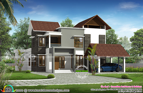 Contemporary Kerala home design 2611 sq-ft