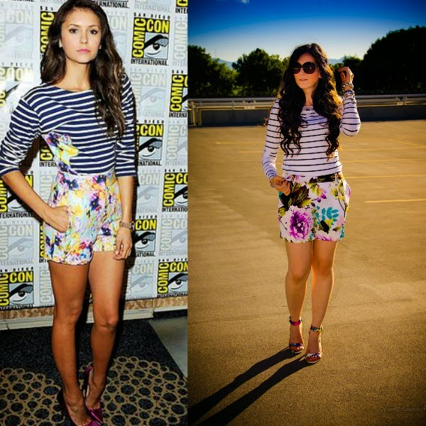 celebrity look for less, edward eliason photography, nina dobrev, nina dobrev inspiration, floral shorts, floral heels, striped shirt, stripes and florals, mix and match clothing, celebrity look, pretty outfits,