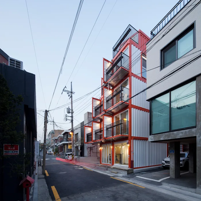 Shipping Container 4 Story House - Office, Cafe and Hotel in Seoul, South Korea 12