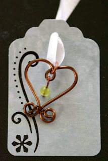 Art charm (antique bronze, jade, wire wrapping, heart, ooak, Beads of Courage) :: All Pretty Things