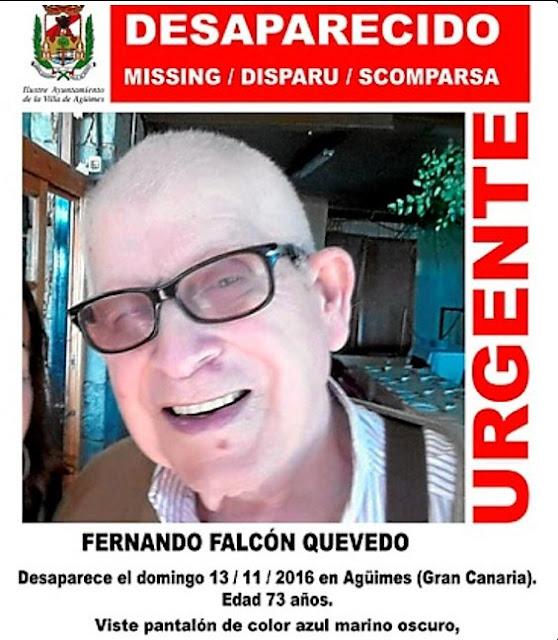 Fernando Falcón Quevedo, hombre desaparecido de Agüimes,  necesita medicación y se le busca ya en toda la isla de Gran Canaria