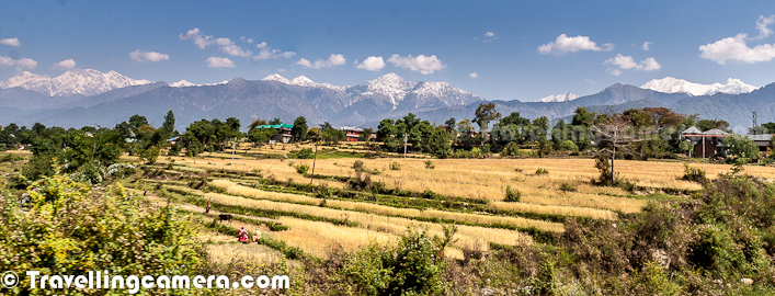 Palampur is one of my favorite place to live and I visit this place at least thrice in an year. Here I am trying to share some of the photographs shot during latest trip to Palampur. Most of these photographs are shot from moving car, so excuse for bad quality, but I am sure that you will enjoy this Photo Journey around Palampur...Palampur is popular for it's natural beauty and beautiful Tea Gardens all around. Most parts of Palampur town has wonderful view of snow covered Himalayan Ranges of Dhauladhar Mountains. Above photograph shows tea gardens on both sides of road and this road connects Palampur with Baijnath. Baijnath is a very old town popular for an ancient Shiva TempleHere is a photograph of ladies plucking tea-leaves from gardens. Tea is then made out of these leaves after some processing. Leaves plucked during April are considered as best for tea. Green Tea of Kangra Valley is very popular among Teat Lovers.This Photograph is shot during evening while driving towards Chamunda Devi Temple near Palampur Town. This whole stretch shares wonderful views of snow capped hills of Dhauladhar Mountain Ranges. This road further goes till Dharmshala/Mcledoganj and a very well maintained road. Generally roads in Himachal are well maintained, at least in Kangra region of the stateAgriculture is main occupation of folks in Himachal and above photograph shows stepped fields shining in front of snow covered peaks of Dhauladhar Mountain Ranges in Kangra region of Himachal PradeshPalampur Town itself has some interesting colonial architecture and the area around is richly garnished with historical temples and forts...  The stretch between Palampur and Dharmshala has most beautiful views of Dhauladhar Mountain Ranges. Several trek routes lead out of Palampur, particularly over the Dhauladhar Mountains towards the town of Chamba, Himachal Pradesh. Palampur also has numerous Buddhist monuments and is famous for its Tibetan handicrafts.Behind Palampur stands high ranges of Dhauladhar mountains, most of the times covered with white shining snow, whose tops remain covered for most part of the year. There are various water streams, which keep flowing inside the city and this place has no problem with respect to natural resources. Many parts of Himachal don't get appropriate supply for water because of challenges in building good infrastructure in hills, but Palampur needs not worry about all those things.Apart from touristic attraction, Palampur has got some of the major educational institutions on road which connects Palampur with Baijnath/Mandi. An Agricultural University is already functioning near by, which is only Agricultural university in Himachal Pradesh. One Ayurvedic hospital is situated, also one Ayurvedic medical college is there in Paprola is about 10 km away from here some tea factories are also in operation Kangra valley is also known as tea capital of India this tea was quite famous among the British.On the outskirts of Palampur, Neugal stream is a thin streak running over stony ground far below the cliff. It offers great scenic beauty with snow covered peaks. A recreational spot, called Saurabh Van Vihar, is also located in Bandla, which gets its name from Capt. Saurabh Kalia who hails from Palampur... Photo Journey will keep sharing more photographs from Palampur to express our love for this wonderful town.