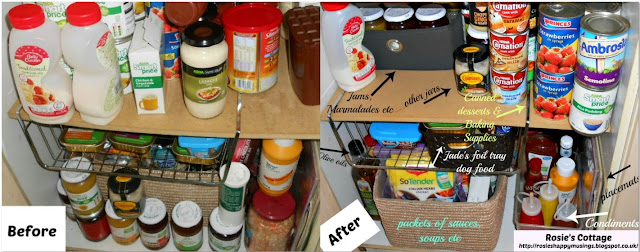 Organized pantry bottom shelves before & after