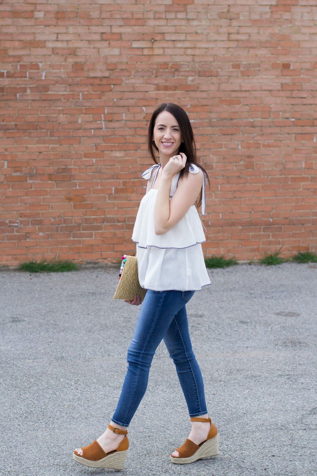 White ruffle top and wedge espradilles - easy casual style