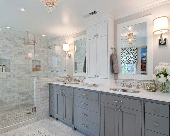 The new old house pins i like holy city chic for Grey and white master bathroom ideas