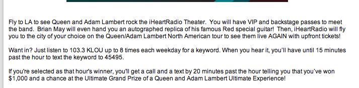 Update on iHeartRadio Radio Theater LA Promo Concert with Queen +