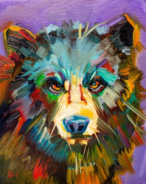 ARTOUTWEST Diane Whitehead Small Study Black Bear art oil painting