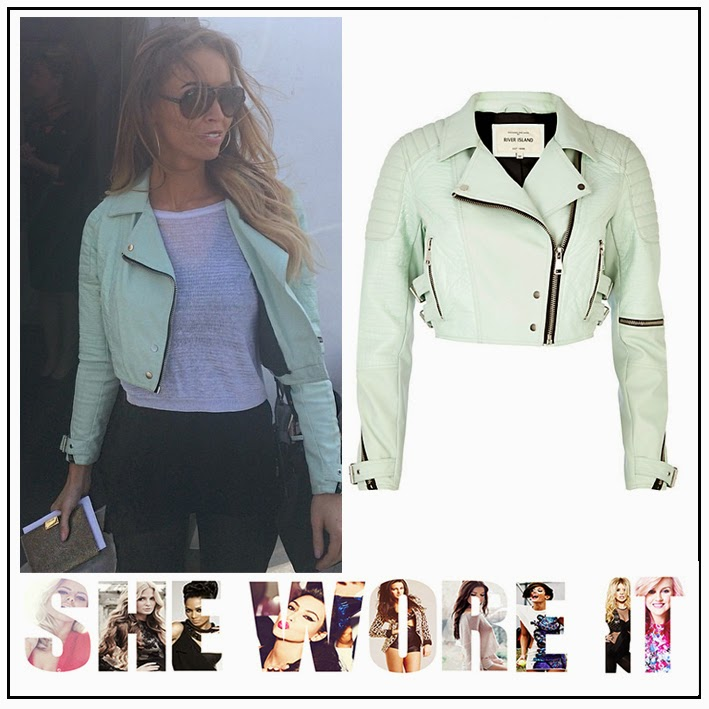The Only Way is Essex's Lauren Pope River Island Light, Mint Green Croc Panel Cropped Biker Jacket with Silver Zip and Buckle Detail