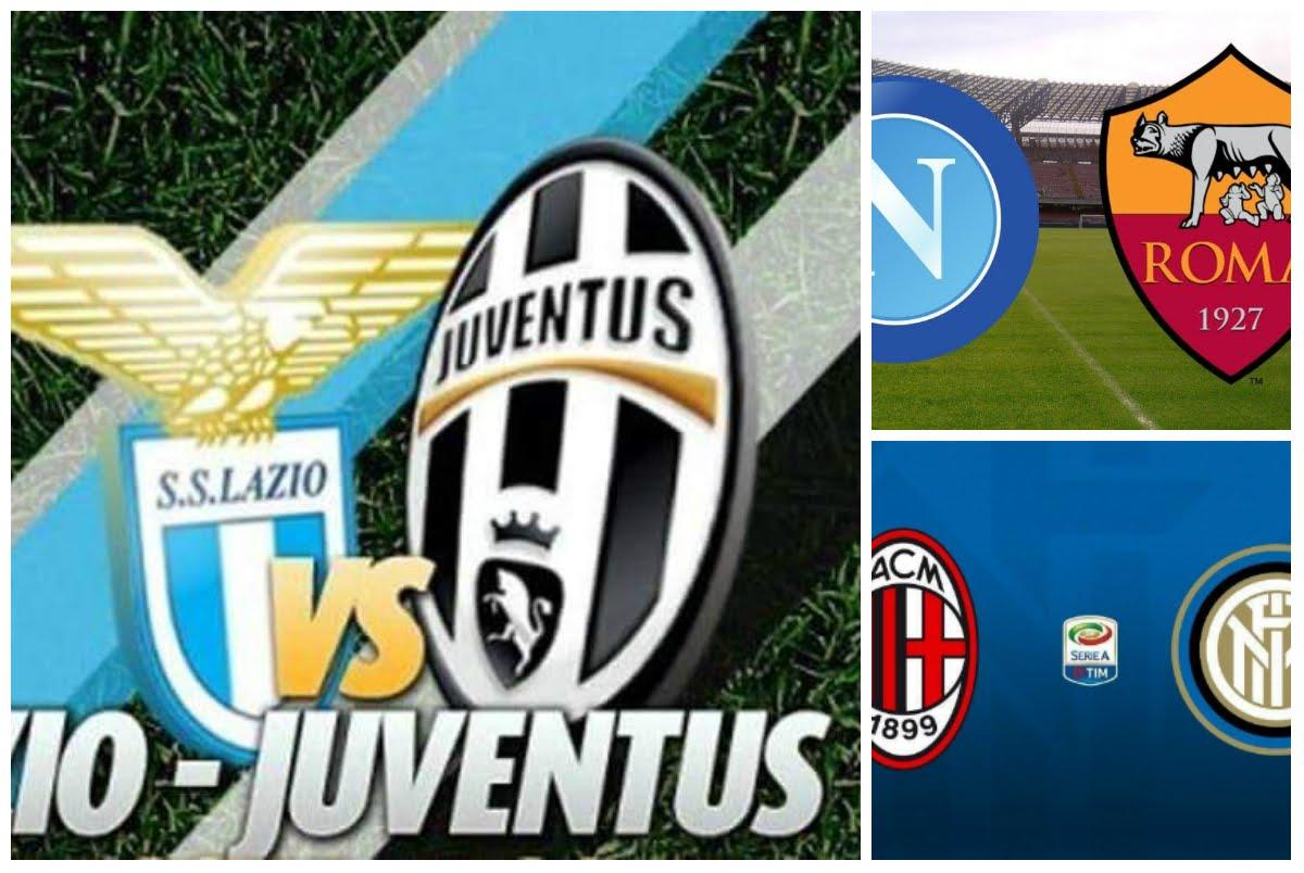 Calcio Spettacolo: Sabato si gioca Lazio-Juventus e Napoli-Roma in Diretta TV, domenica il derby Milan-Inter