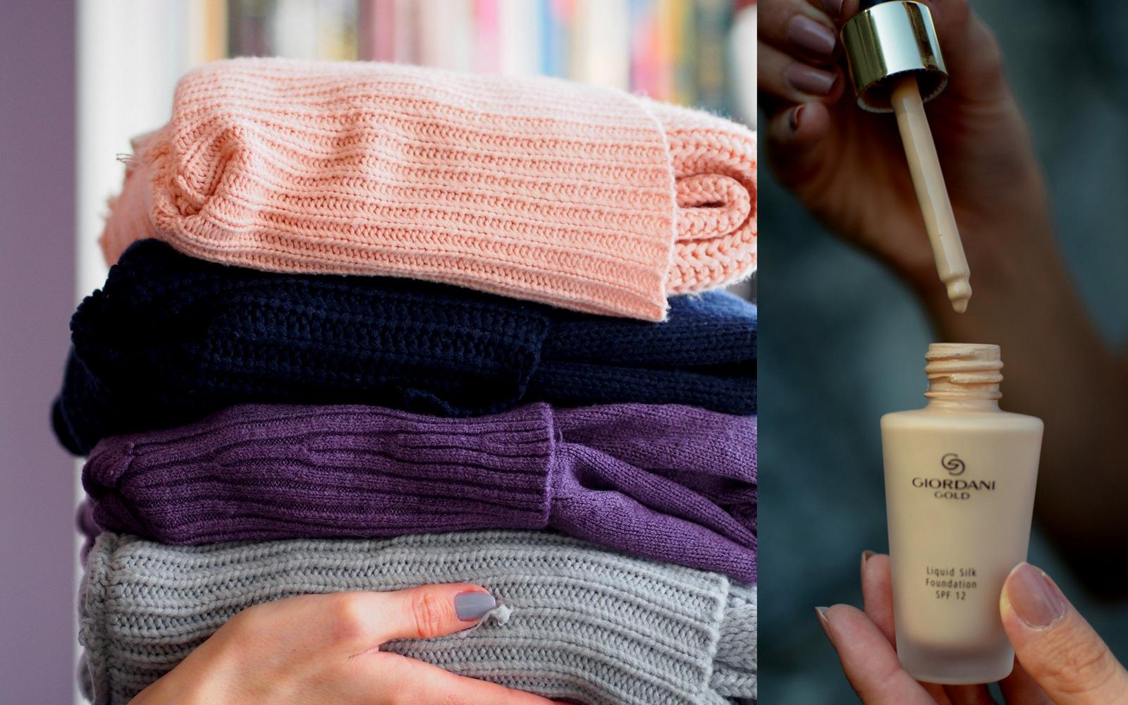 skvelý tip ako si obliecť sveter tak, aby ste si nezničili make-up a ani sveter