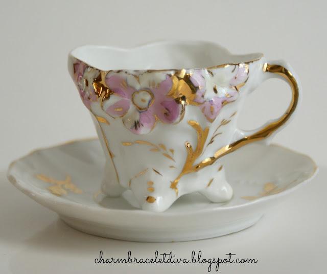 vintage mini china tea cup saucer gold leaf