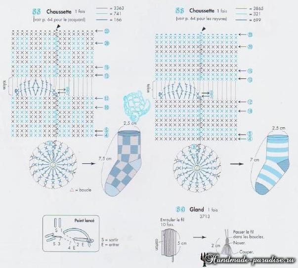 Схемы вязания крючком носочков