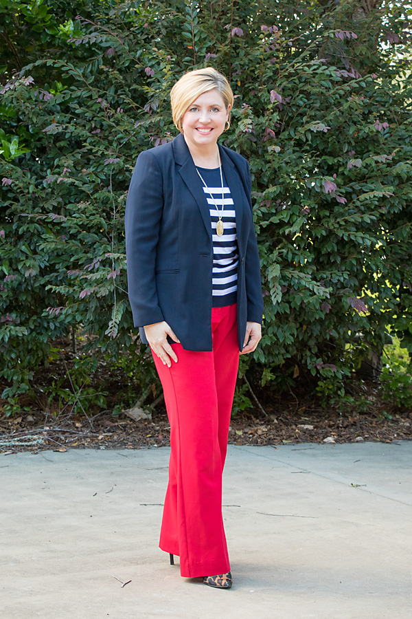 red, navy and white outfit