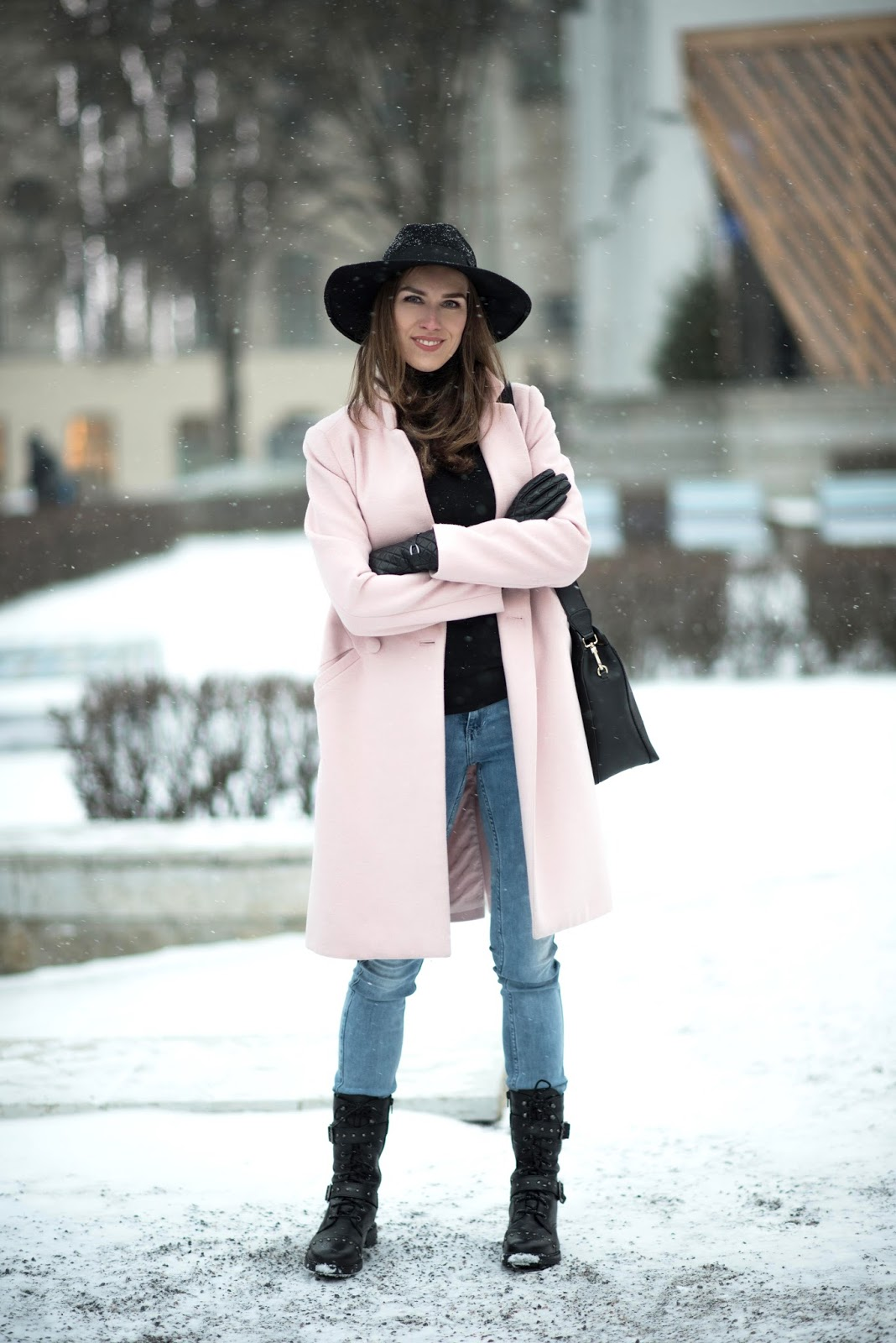 pink coat outfit winter