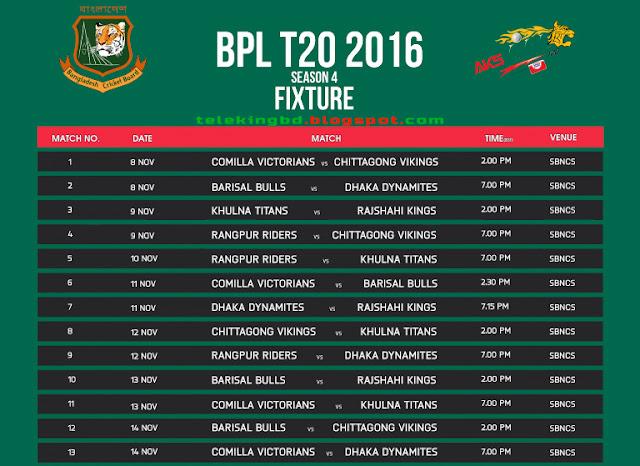 Bangladesh Premier League-BPL T20 (2016) Schedule New