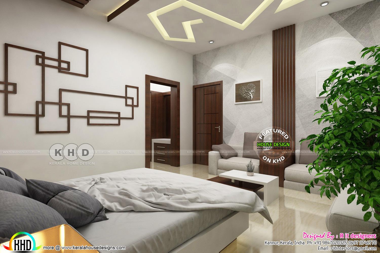 Modern Master Bedroom With False Ceiling Design Kerala