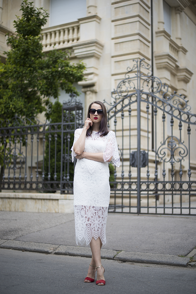 white lace midi dress rochie alba dantela