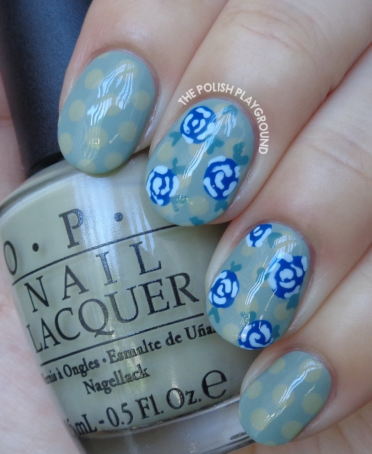 Polka Dots and Blue Roses Nail Art