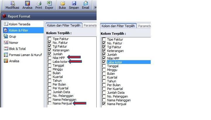 training accurate software modifikasi laporan