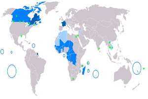 Mapa de los países francófonos en el mundo
