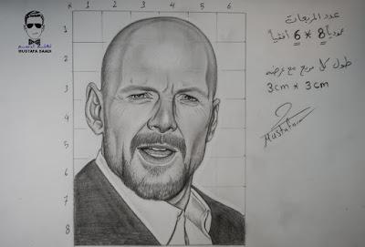 تعليم الرسم بالرصاص رسم بروس ويلز بطريقة المربعات