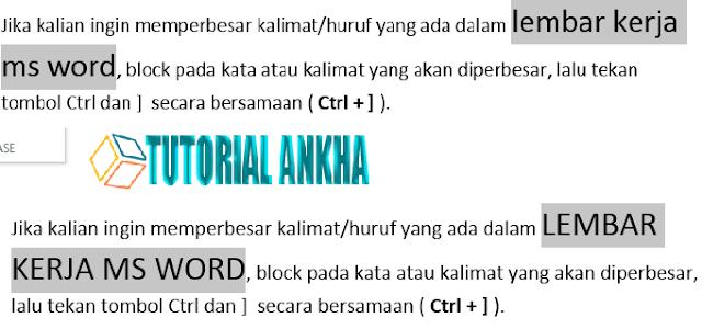 Cara Praktis dan cepat Mengatur ukuran huruf dengan Tombol Shurtcut di Ms Word
