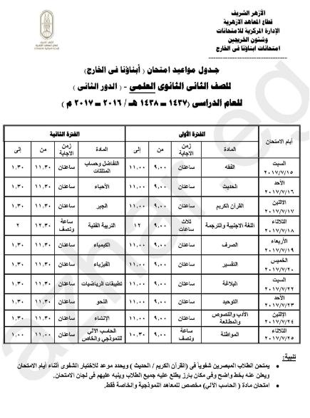 الازهر الشريف : جداول إمتحانات الدور الثانى للمصريين بالخارج 2017 جدول امتحانات الملاحق
