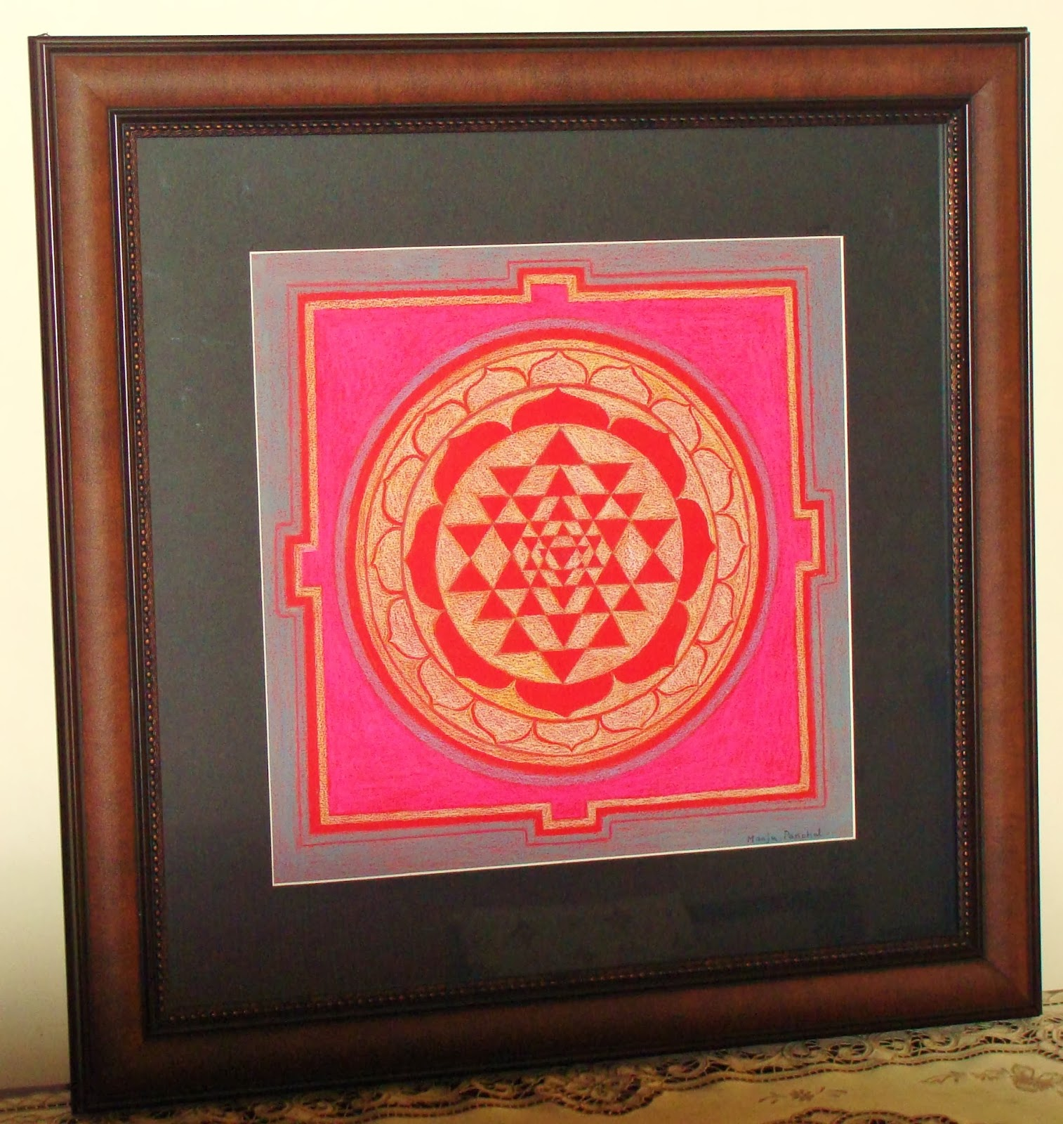 shree yantra painting in soft pastels by Manju Panchal