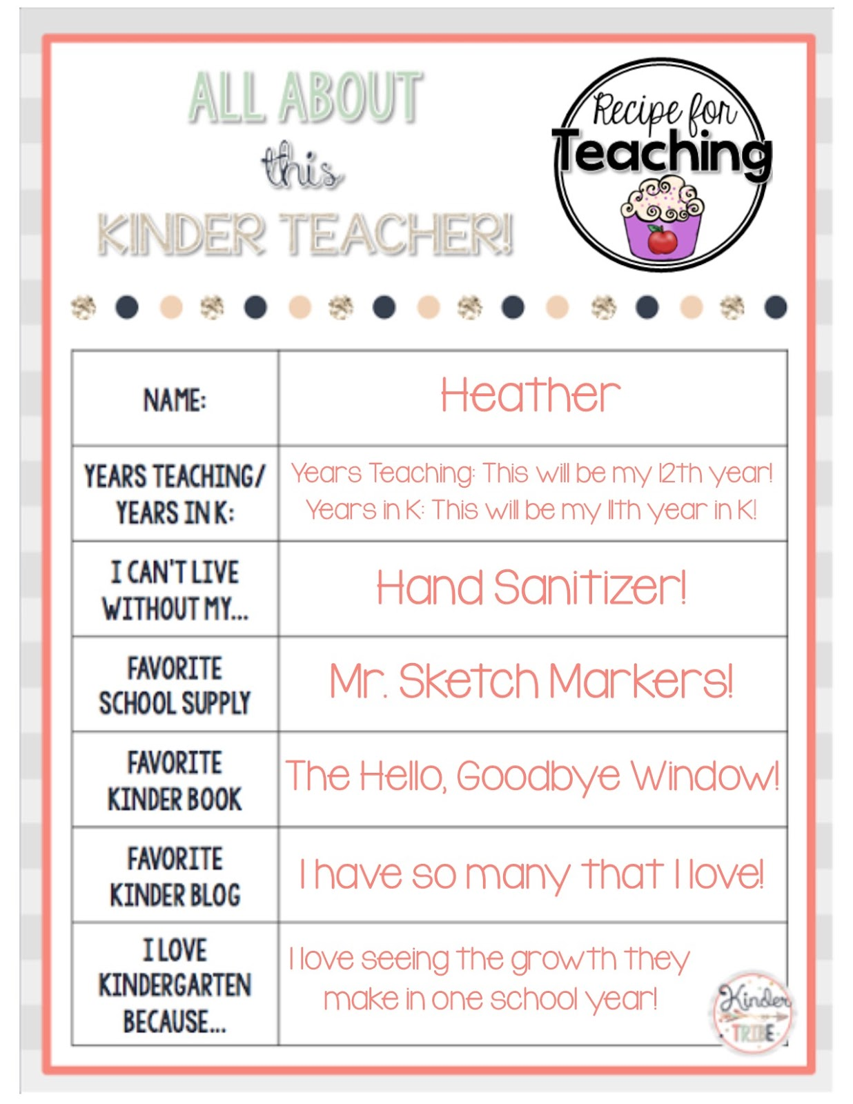 All About This Kinder Teacher