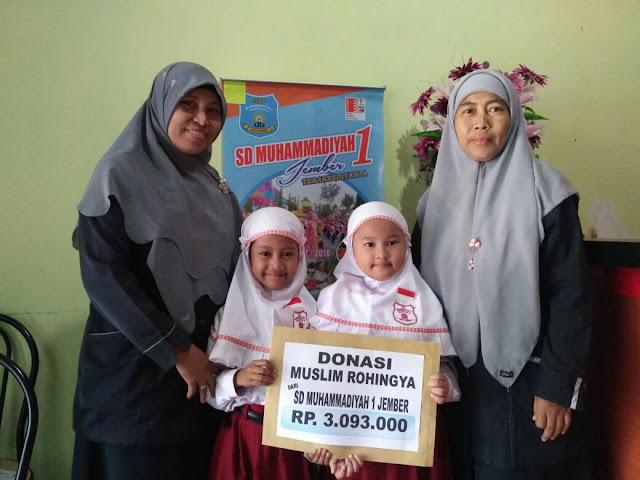 Donasi Muslim Rohingya dari Siswa-Siswi SD Muhammadiyah 1 Jember