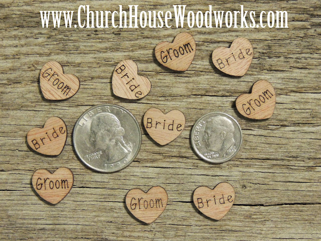 Church House Woodworks Rustic Wedding Wood Burned Hearts Bride Groom Mr Mrs Small Table Scatter Decorations Country Weddings Barn Weddings Western Weddings