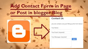 How to add contact form in page or post in blogger