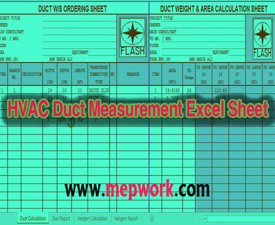 HVAC Duct Measurement Excel Sheet XLS