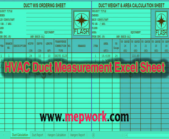 Download HVAC Duct Measurement Excel Sheet XLS