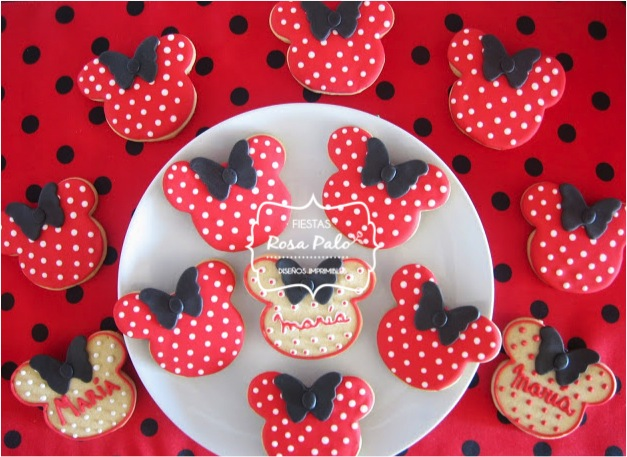 GALLETITAS MINNIE GLASE ROJO NEGRO