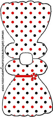 Red Polka Dots in Black and White Free Printable Dress Invitations.