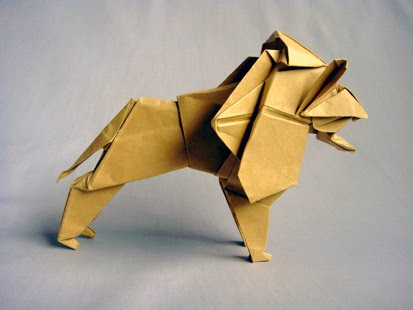 Origami: Lion - Instructions in English (BR) - REMAKE - YouTube ... | 310x413