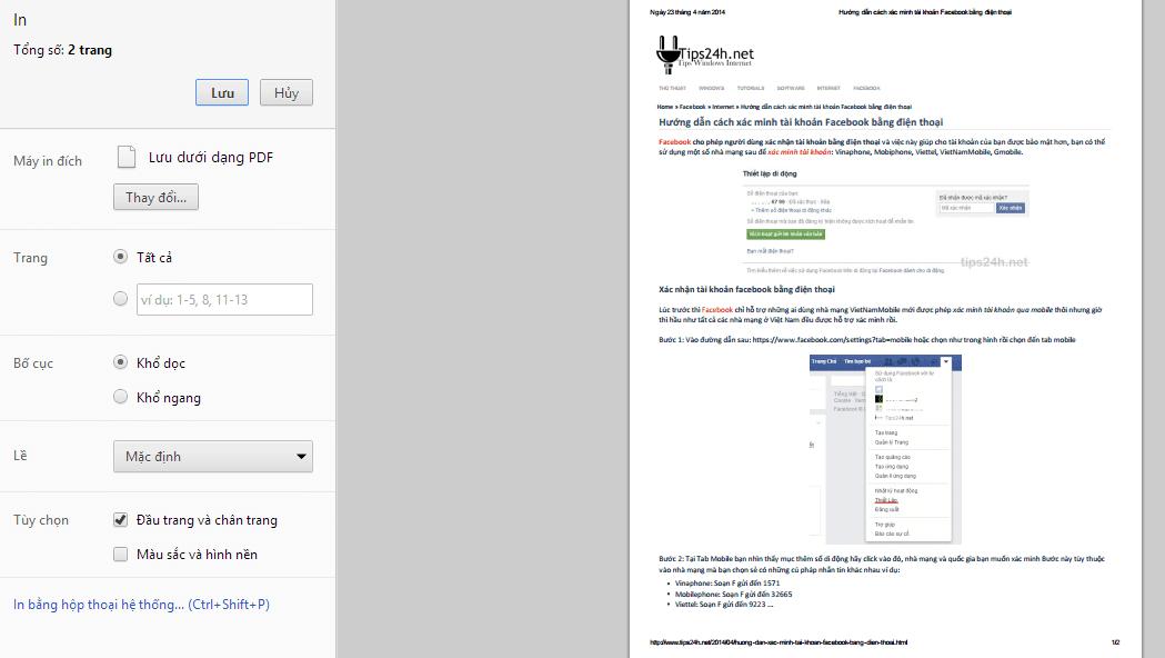 Hướng dẫn tùy chỉnh hiển thị trang in cho website/blog